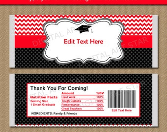 Graduation Candy Wrapper Template, Chocolate Bar Wrappers 2017 Graduation Party Favors, Printable Graduation Favors Red Black Chevron G3