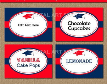 Graduation Candy Buffet Labels, Tent Cards, Graduation Food Labels, Place Cards - EDITABLE 2016 Graduation Food Tags High School Grad Party
