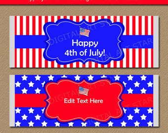 Patriotic Party Favors - 4th of July Party Ideas Printable Red White and Blue Candy Bar Wrappers Welcome Home Military Ideas Military Favors