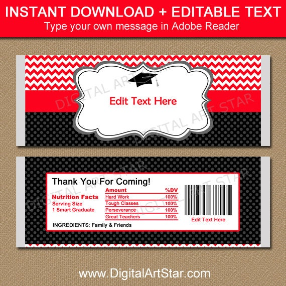 free printable graduation candy bar wrappers templates - graduation candy wrapper template chocolate bar wrappers
