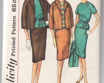 """1960's Simplicity Jacket, Blouse and Slim Skirt Pattern - Bust 34"""" - No. 4141"""