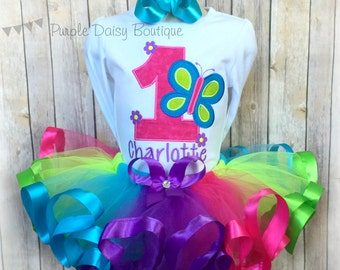 Butterfly Birthday Outfit - Spring Birthday Ribbon Trim Tutu Outfit - First Birthday Outfit - Rainbow Tutu Outfit - Second Birthday