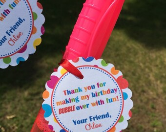 Bubble Birthday Favor Tags