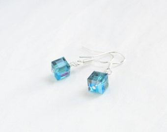 Swarovski earrings - sterling silver earrings - crystal cube earrings - Indicolite AB earrings - azure blue swarovski - greeny blue earrings
