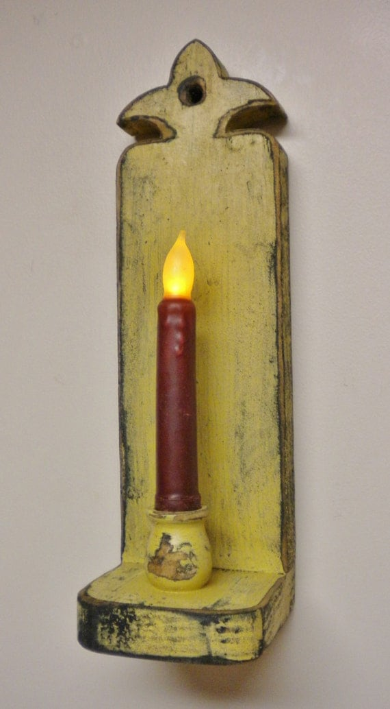 Wall Candle Sconces Etsy : Primitive Candle Sconce Made To Order Colonial by PearcesCraftShop