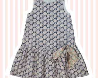 Girl's Liberty Print Bow Dress | 4 to 10 years | Purple Peacocks
