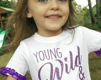 Young Wild and Three Shirt - Third Birthday Shirt - Three Shirt - Birthday Shirt- Ruffle Sleeve Shirt - Custom Birthday Shirt - Birthday Tee
