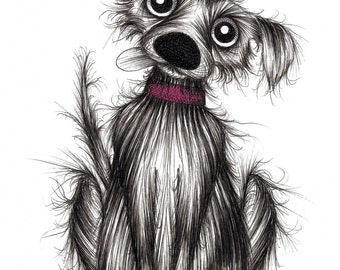 Little Larry Print A4 size picture Super cute and adorable little pet pup puppy dog with tasty treat and sticky out tongue Printed on paper