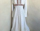 Vintage boho peasant festival maxi dress irovy cotton lace brown embroidery lace bodice sz M