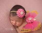 Butterfly Wings, Pink and Gold Wings, newborn Prop - Pink and Gold Sequin Butterfly Wings with Matching Rhinestone Headband Photography Prop