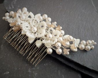 Pearl Hair Comb, ivory and champagne bridal accessory, wedding hair, floral bridesmaid,bride,white,ivory,silver,