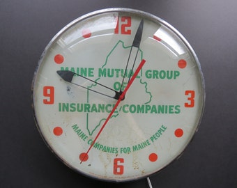 1957 Pam Wall Clock // Maine Insurance Companies Red Green Mid Century Collectible Bubble Light Up Clock Industrial Maine Antique Home Decor