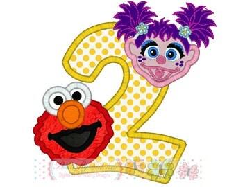 Elmo Abby Caddaby Birthday Number 2 Digital Embroidery Applique Design