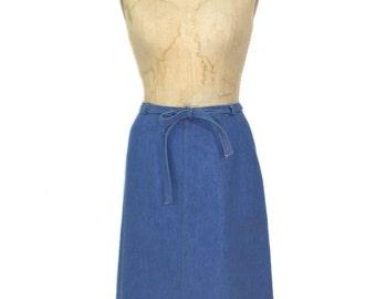 vintage 1970s denim wrap skirt / RSC / blue / medium wash / women's vintage skirt / size 14