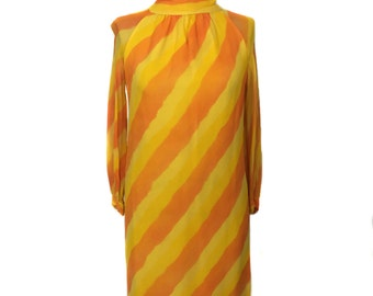 vintage 1960s citrus stripe dress / Burt Stanley / orange yellow / chiffon dress / women's vintage dress / size large