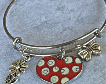 Child Size Bangle Bracelet - Birthday Party Favors - Heart Bracelet - Little Girl Jewelry - Birthday Bracelet
