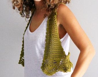 Crochet vest, boho vest, festival wear, crochet cropped vest, festival vest, olive green vest, hippie chic, Ithaca, made to order