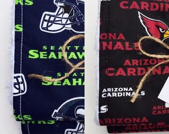 Football Burp Cloths Seattle Seahawks Arizona Cardinals NFL Navy Blue Black Red Free Shipping Baby Boy Girl Unisex Gift Shower Ready to Ship