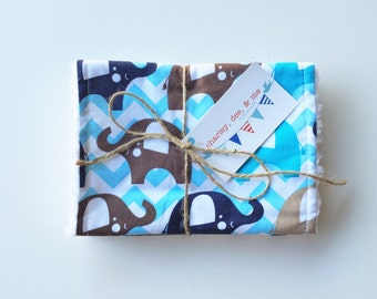 Elephant Burp Cloths, Free Shipping Ready to Ship, Baby Boy Shower Gift, Set of 2, Blue Brown Tan Navy Elephants Burpees Chevron