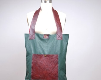 SUMMER SALE Large Leather Tote - Leather Tote Bag - Upcycled Leather Tote Bag - Everyday Leather Tote