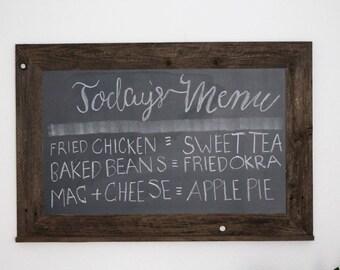 24 x 36 Chalkboard - Kitchen Chalkboard - Reclaimed Wood Framed - Wedding Chalkboard - Gifts - Etsy Gifts - Hurd & Honey - Chalkboard