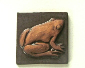 Vintage Frog Tile, Arts and Crafts Style, Handmade Tile, Stoneware Tile, Olive Green Glaze,Signed by Artist, Collectible Tile