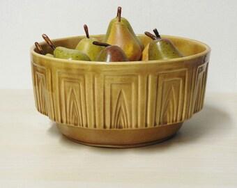 Haeger Pottery Bowl - Vintage Golden Caramel Fruit Centerpiece, Snack Display Mid Century Modern Geometric Pattern Retro Kitchen Home Decor