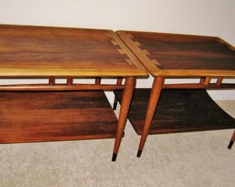 Mid Century Lane Acclaim dovetail inlay walnut end tables vintage modern furniture