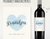 Pregnancy Announcement - GRANDPA - UNCLE - Custom Wine Label
