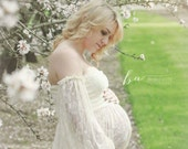 Heather Gown, Lace split front gown, maternity,  photography,  floor length,  boho sleeves, baby shower, photo shoot, maternity dress
