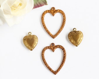 Vintage Heart Charms Pendants, 2 Puffy heart charm and 2 Hoop heart charms