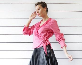 Vintage pink pure linen long sleeve ruffle wrap blouse shirt L