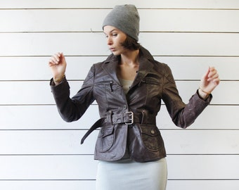 Vintage brown waxed leather single breasted belted biker style short jacket coat XS S