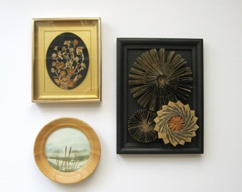 Paper Sculpture -  Waxed Paper Cogs No8 Paper Succulents - Framed Wall Art Recycled Book Art - Industrial Black Home Decor Contemporary Art
