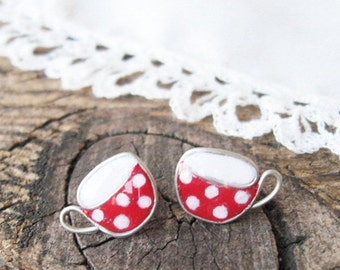 Tiny stud earrings, Tea cups earrings, Mug of tea, Red polka dot cup, Cute Gift for her, hypoallergenic posts
