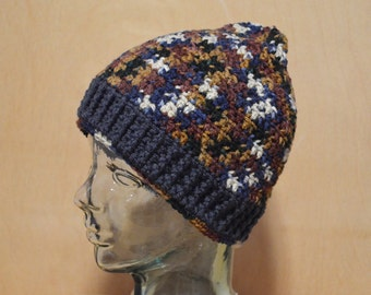 Crochet Hat, Adult Hat, Blue and Brown Hat, Adult Medium