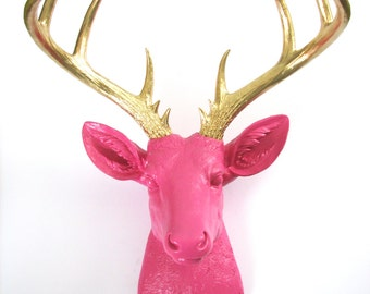BUBBLE Gum GOLD XL Faux Taxidermy Deer Head wall mount wall hanging / stag / pink and gold / nursery decor / office decor / kids room /