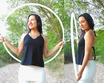 Apex Apron Top: Backless Halter Top with Loose Apron Front, Long Ties, and Side Darts. Organic Cotton French Terry Blend.