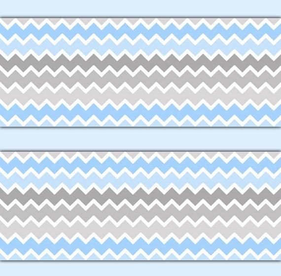 blue grey ombre chevron wallpaper border wall decals boy