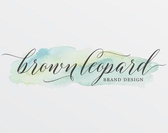Premade Logo Design, Watercolor logo for Photographers, modern graphic design for small business, customizable logo, branding, blog logo