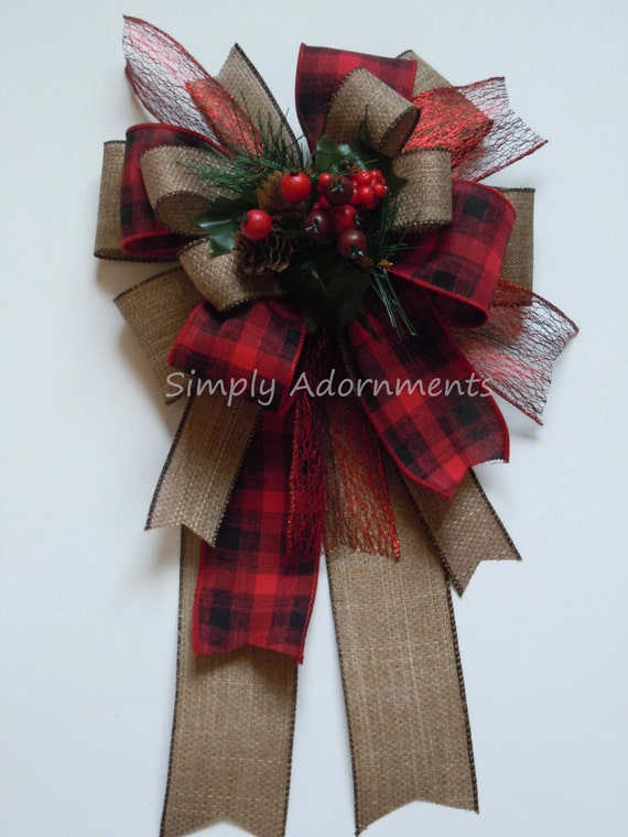 Country Plaid Winter Wreath Bow Christmas Rustic Christmas Burlap Wreath Bow Pine Cones Berry Christmas Swag Bow Winter Country Home Decor