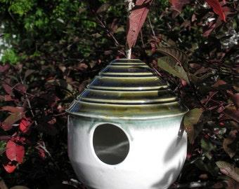 Birdhouse in gloss white and Olive Oil, Bird Feeder, home decor