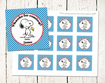 CUSTOM Snoopy Favor Tags- Peanuts Thank You Labels- Snoopy Party- Peanuts Party- Snoopy Printable-Snoopy Thank you Labels