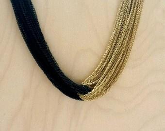 statement necklace, statement necklace gold, statement necklace bib, chunky black and gold necklace, multi strand necklaces, bib necklace