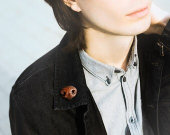 Brooch Dog Nose, animal jewelry, funny jewelry for men and woomen, animal nose brooch, brown tiny dog jewelry, male indie jewelry