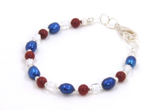 Silver Bracelet - July 4th Bracelet - Patriotic Jewelry - Beaded Bracelet - Simple Beaded Bracelet - Dainty Bracelet - Stacking Bracelet