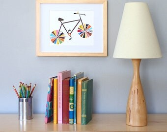 Recycled Bicycle Print, Original Bicycle Art Print, Colorful Home Decor, Affordable Art