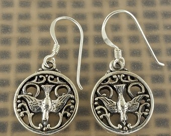 Sterling Silver Celtic Raven Earrings