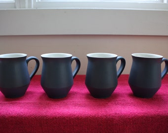 Denby Echo Blue Coffee Mugs Made In England - mid-century coffee cups, tea cups, modern