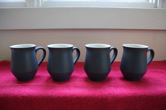 Set of Four Denby Echo Blue Coffee Mugs Made In England - mid-century coffee cups, tea cups, modern